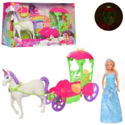 Карета с лошадью 52см, кукла 30см, звук, свет, бат. (Таб.), DEFA 8423
