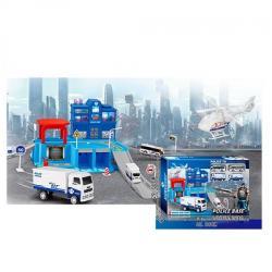 Гараж полиция (транспорт 5 шт. инерционный, звук, свет, на батарейках), JC16-02