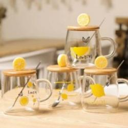 Чашка с бамбуковой крышкой и ложкой  Lemon  450мл Stenson TD00573