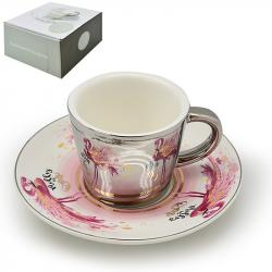 Чашка с блюдцем Stenson анаморф Фламинго 90мл, R88426