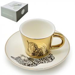 Чашка с блюдцем Stenson анаморф Леопард 90мл, R88431
