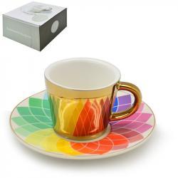 Чашка с блюдцем Stenson анаморф Радуга 90мл, R88424
