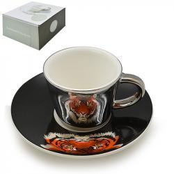 Чашка с блюдцем Stenson анаморф Тигр 90мл, R88432