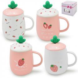 Чашка Stenson Strawberry с крышкой 400мл, TL00005
