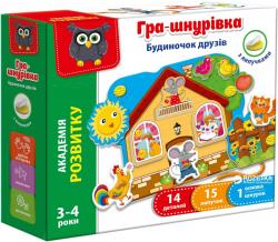 Игра шнуровка с липучками Домик друзей VT5303-09