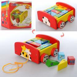 Деревянная игрушка каталка с кубиками-цифрами, MD 2521