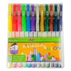 Набор гелевых ручек ZiBi Neon + Metallic 12 цветов 0,7мм ZB.2205-99