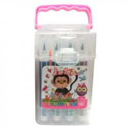 Фломастеры - кисточки LEADER 12 цветов в пластиковой упаковке 064608