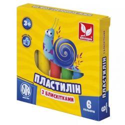 Пластилин восковой с блестками 6 цветов ШКОЛЯРИК 303109001-UA