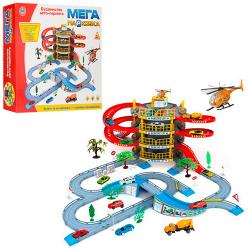Гараж (машинки 2шт., вертолет, 4 этажа, дорожные знаки, деревья) в коробке 922-10