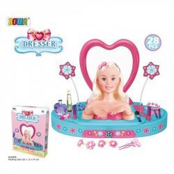Игровой набор трюмо детское с куклой - манекеном голова для причесок, 8236