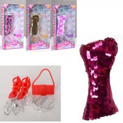 Кукольное платье (платье в пайетках, сумочка, обувь), DEFA, 8432