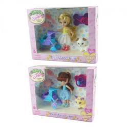 Кукла 14см, коляска, сумочка, животное, 57004