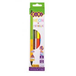 Карандаши цветные 12 цветов /6 шт  Kids Line Double Neon+Metallic  ZIBI ZB.2465