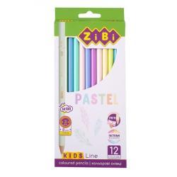 Карандаши цветные 12 цветов пастельные  Kids Line  ZIBI ZB.2470