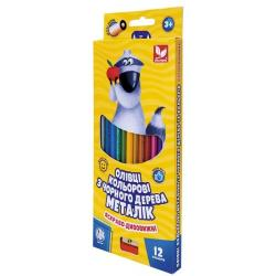 Карандаши цветные 12 цветов с точилкой  Металік  ШКОЛЯРИК 312114002-UA