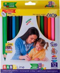 Карандаши цветные 12 цветов с точилкой  Kids Line  ZIBI ZB.2452