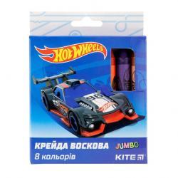Карандаши восковые 8 цветов Jumbo  Hot Wheels  Kite 40268