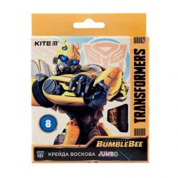 Карандаши восковые 8 цветов Jumbo  Transformers BumbleBee Movie  Kite 40267