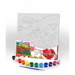 Картина по номерам Danko Toys Canvas Painting Маковое поле 31 х 31 см, ДТ-ОО-09267