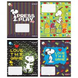 Комплект тетрадей школьных 12 листов 4 шт. клеточка + 4 шт. косая линия  Snoopy  KITE SN21-232+235/8