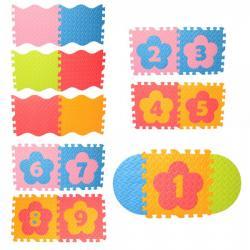 Коврик Мозаика напольное покрытие (1 текстура, пазлы, цифры, 9 деталей, 31-31см.) EVA, M 6097