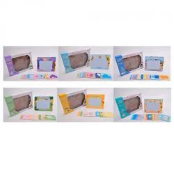 Дощечка для рисования цветная, карточки-трафарет 16шт., Ручка, 923-4-5-6-7-8B