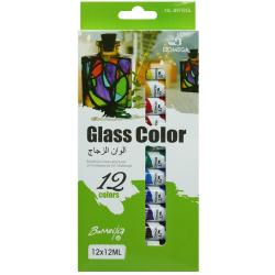 Краски для стекла 12 цветов в тюбиках 12 мл Bomega В9112GL