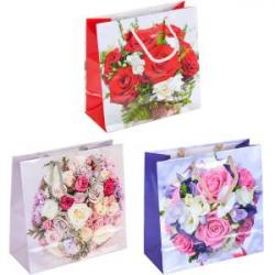 Пакет цветной чашка Цветы микс-2 16х16х7 см