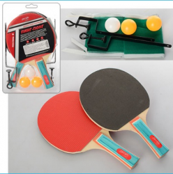 Набор для настольного тенниса №3 (ракетки (EVA резина, ручка наборн.) 2ед., 3 шарика, сетка 125х12см