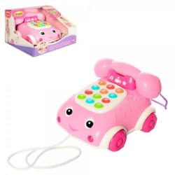 Каталка телефон 17см на шнурке (свет, звук, на батарейках), 0663G-NL