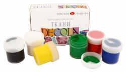 Набор акриловых красок по ткани 6 цветов 20мл.  Decola  52242025