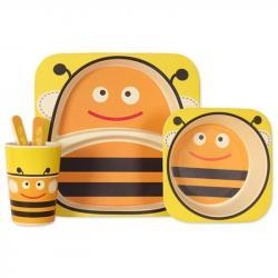 Набор детской посуды Stenson Пчелка бамбуковый 5 предметов, MH-2770-3