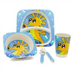Набор детской посуды Stenson  Морской конек  бамбуковый 5 предметов, MH-2770-18