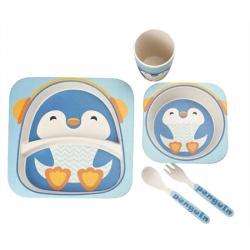 Набор детской посуды Stenson  Пингвин  бамбуковый 5 предметов, MH-2770-11