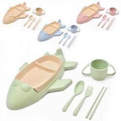 Набор детской посуды Stenson  Самолет  из пшеничной шелухи 6 предметов R87745