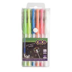 Набор гелевых ручек 6 цветов BLACK PAPER ART Line ZIBI ZB.2210-99