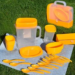 Набор посуды для пикника Stenson 6 персон 35 предметов, R30214