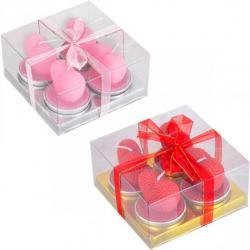 Набор свечей 4шт Сердце из роз матовые 10-83
