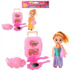 Кукла 10см чемодан, расческа, сумочка 123-293