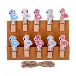 Прищепки деревянные декоративные с фигуркой Фламинго 10шт. 3,5х0,6см 4-201-5
