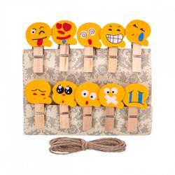 Прищепки деревянные декоративные с фигуркой Эмодзи 10шт. 3,5х0,6см 4-201-4
