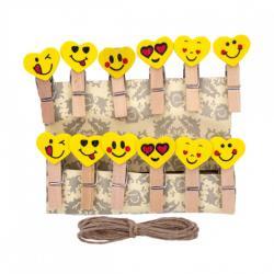 Прищепки деревянные декоративные с фигуркой Смайл Сердечко 12шт. 3,5х0,6см 4-201-6