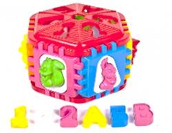 Логический куб Сортер (шестиграний с вкладышами в виде букв и животных) 50-003 KW