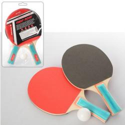 Набор для настольного тенниса №3 (ракетки (EVA резина, ручка наборн.) 2ед., шарик) MS 0217 в слюде