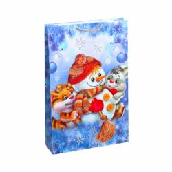 Пакет цветной большой Снеговик вертикальный 5024