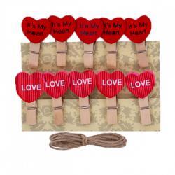 Прищепки деревянные декоративные с фигуркой  Сердечко  10шт 3,5*0,6см 4-201-1