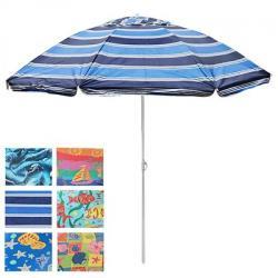 Зонт пляжный Stenson 2.0м. антивiтер с серебристым покрытием, MH-2060