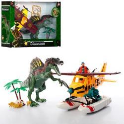 Динозавр 35см (подвижная челюсть), гидросамолет 31см, фигурка (звук, на батарейках), 2121-26A