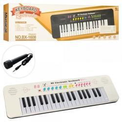 Синтезатор 37 клавиш, микрофон, звуки животных, демо, муз., Бат BX-1608B